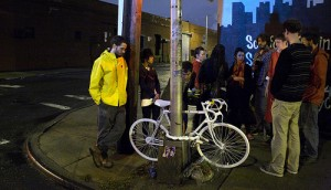 Ghost Bike for Mathieu Lefevre, 30. Killed on 10/19/2011 at Morgan and Meserole, Williamsburg
